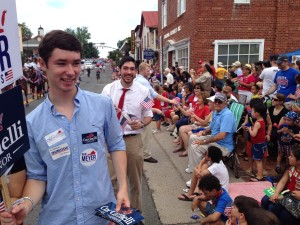 Brad Tidwell, Delegate Candidate for the 53rd District, hands out Fliers and Flags at the Fairfax 4th of July Parade